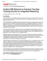 Arabia CSR Network to Conduct Two-Day Training Course on Integrated Reporting 2